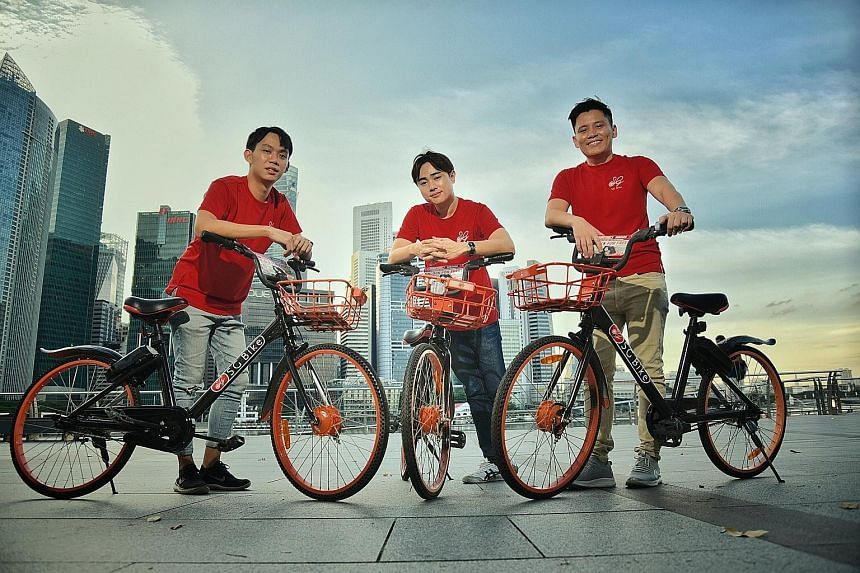 From left to right: SG Bike's co-founders chief marketing officer Benjamin Oh, chief operating officer Sean Tay and chief technology officer David Lim. In its next project, the company is partnering the Nov 1-15 OCBC 2020 Virtual Ride. ST PHOTO: DESM