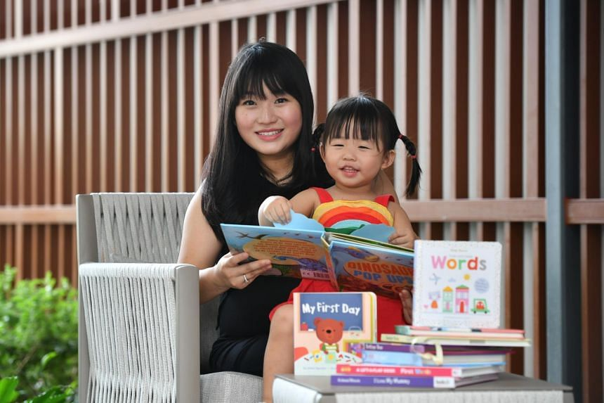 Ms Shernice Goh, co-founder of One Happy Book, with her daughter Katelyn Grace Chandra.