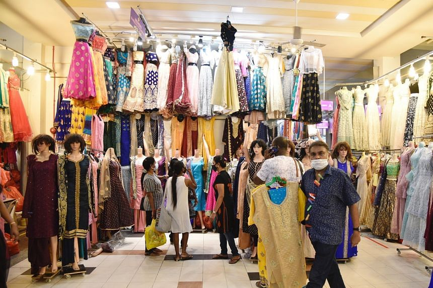 A traditional clothing store at Tekka Centre draws some customers on Nov 1, 2020.