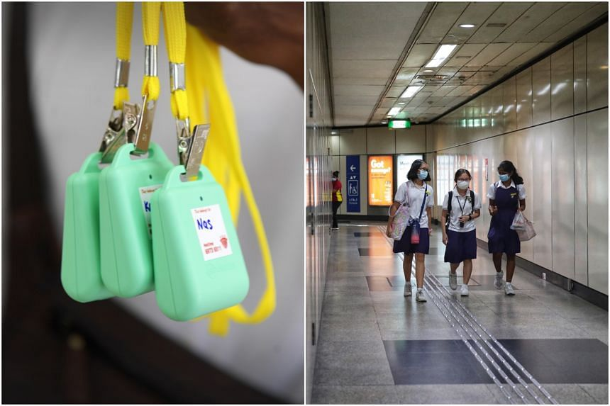 The MOE encouraged parents and students to collect and carry their TraceTogether tokens on them.