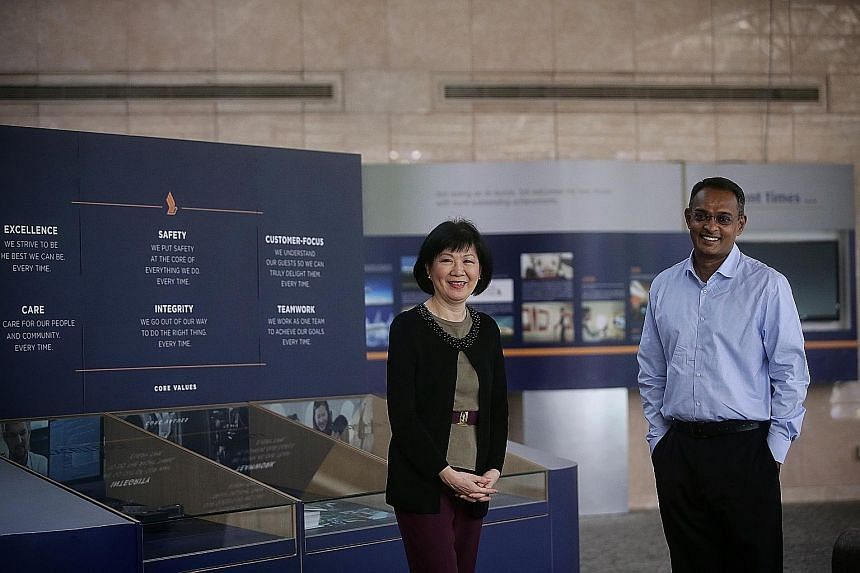Ms Foo Juat Fang, who has helped to train Singapore Airlines' cabin crew since 1996, and pilot Senthilvalavan Ganapathi are both trainers at the Singapore Airlines Academy, a new arm that the airline has set up to conduct training for companies.