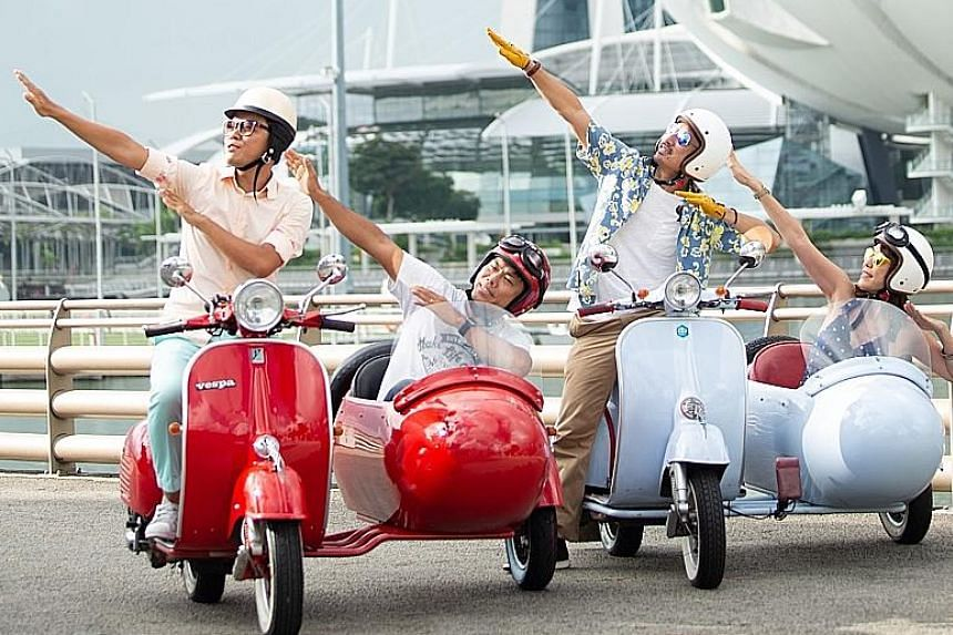 Go for a spin around Crazy Rich Asians film locations in a vintage Vespa organised by SingaporeSidecars.