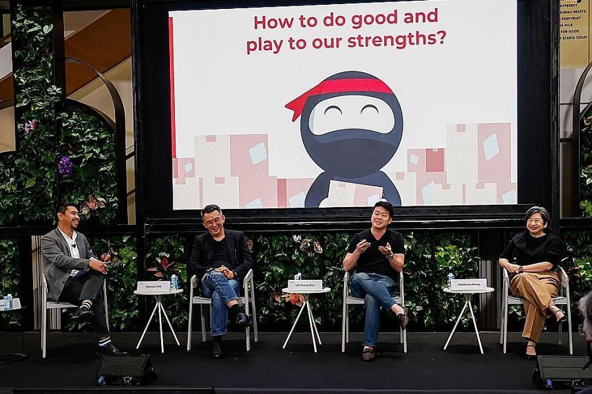 At yesterday's Temasek Trust Conversation panel discussion were (from left) The Majurity Trust executive director Martin Tan, Vintage Radio SG co-founder and Radioactive managing director Aloysius Tan, Ninja Van Singapore co-founder and chief executi