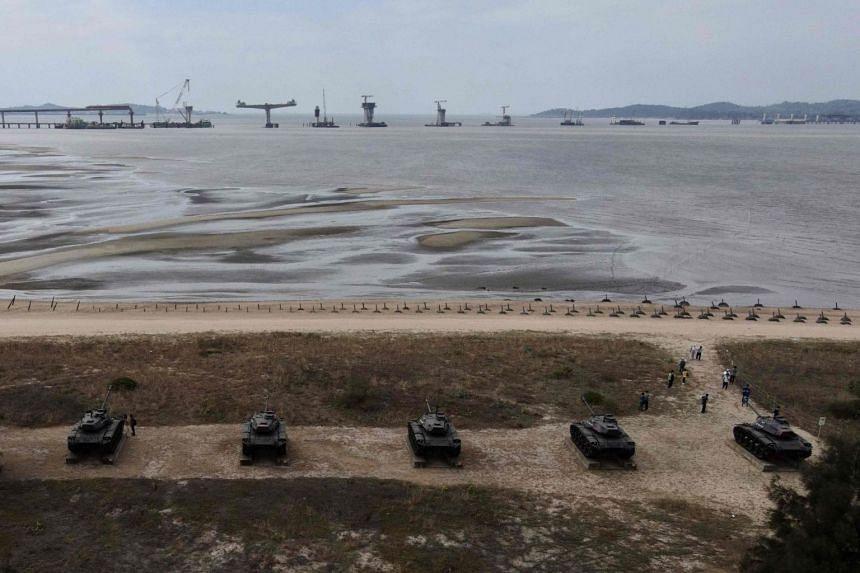 Tank traps on the beaches of Taiwan's Kinmen Island on Oct 20, 2020.