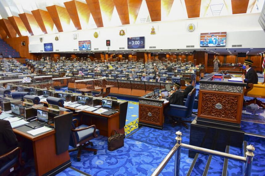 Malaysian MPs attending a parliament session at lower house in Kuala Lumpur, Malaysia, 02 November 2020.