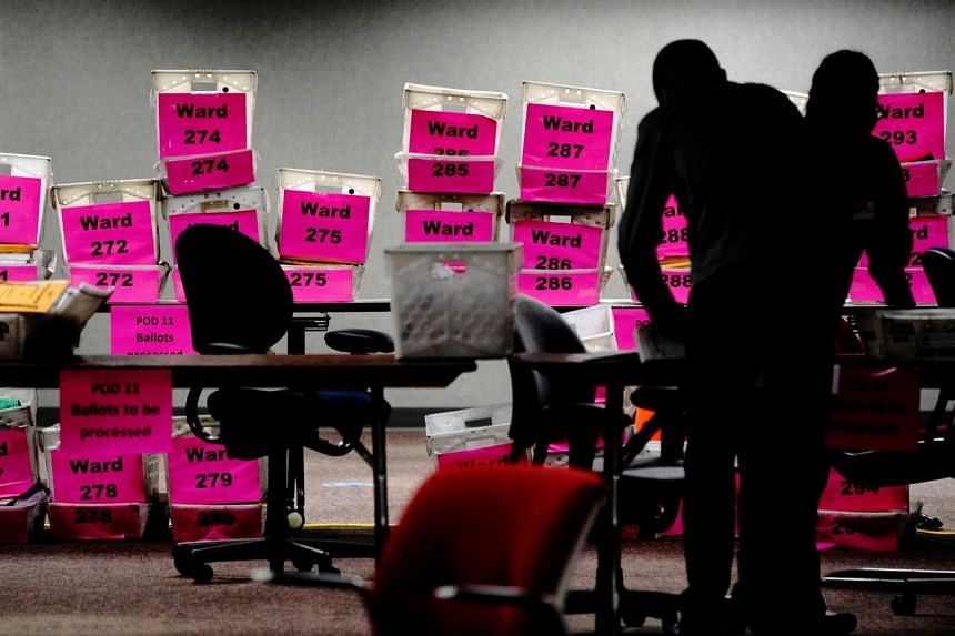 Absentee ballots being counted in Milwaukee, Wisconsin, on Nov 3, 2020.