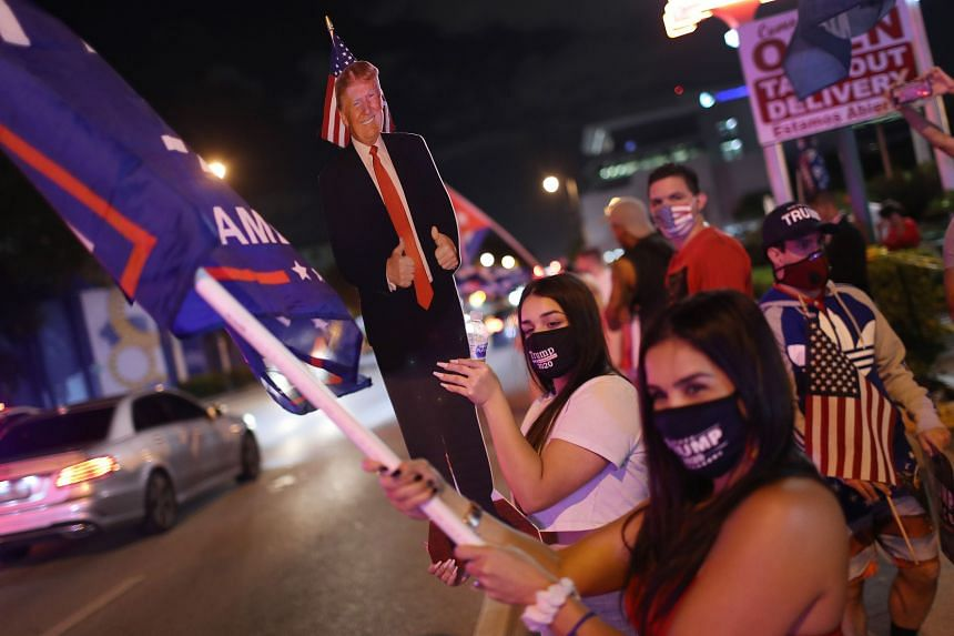 Supporters of US President Donald Trump in Miami, Florida, on Nov 3, 2020.