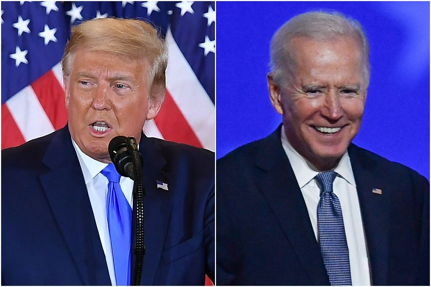 US President Donald Trump and Democratic presidential nominee Joe Biden speaking at the White House and in Wilmington, Delaware, respectively on Nov 4, 2020.