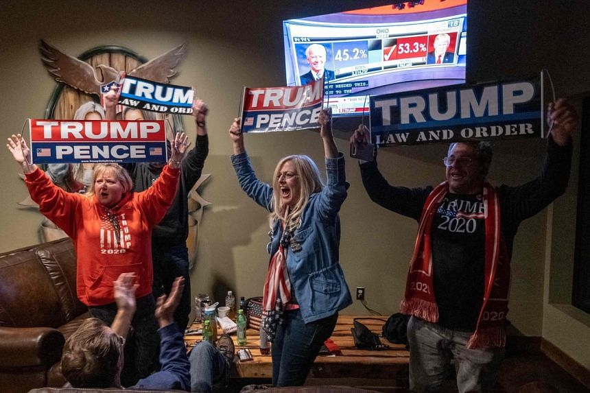 Supporters of US President Donald Trump celebrate as they watch Ohio being called for the incumbent.
