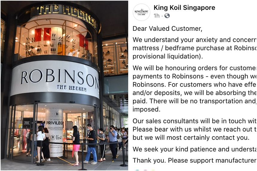 The three mattress makers said they would honour the orders, despite Robinsons' failure to pay them.