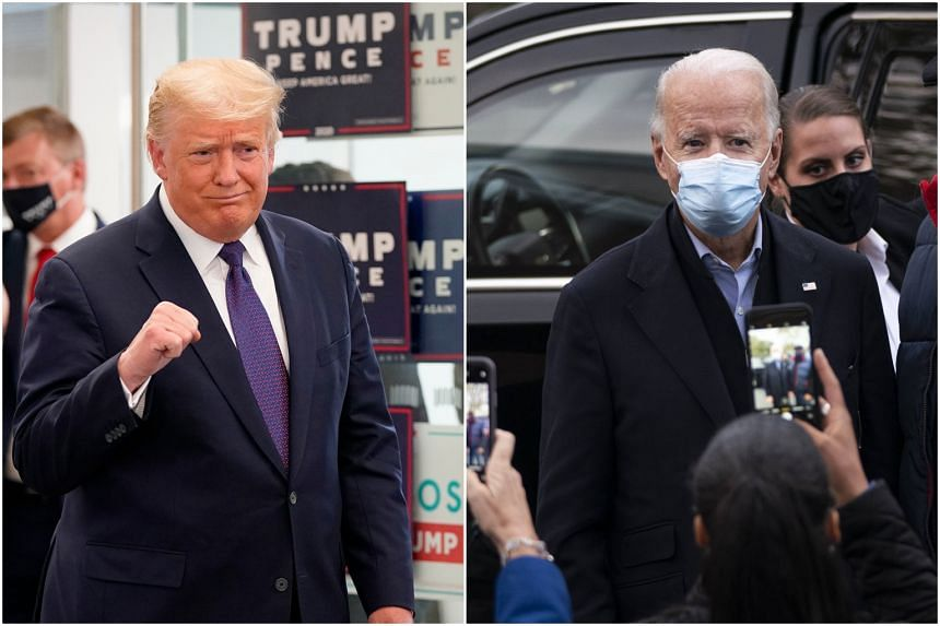 Mr Trump on a visit to Republican National Committee offices in Virginia and Mr Biden speaking to residents in Wilmington, Delaware, on Nov 3, 2020.