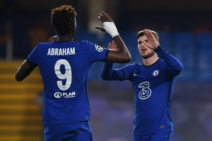Chelsea's Timo Werner celebrates scoring their second goal with Tammy Abraham.