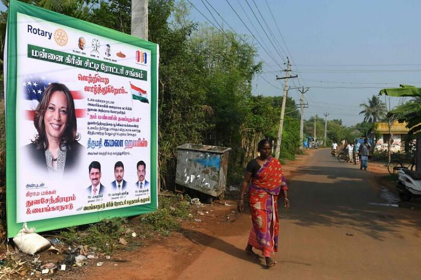 Thulasendrapuram has been decked out in posters of Ms Kamala Harris.