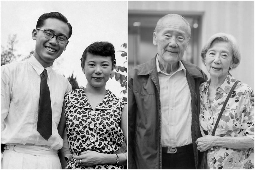Prof Wang Gungwu and his wife Margaret in 1952 (left) and at their 60th wedding anniversary.