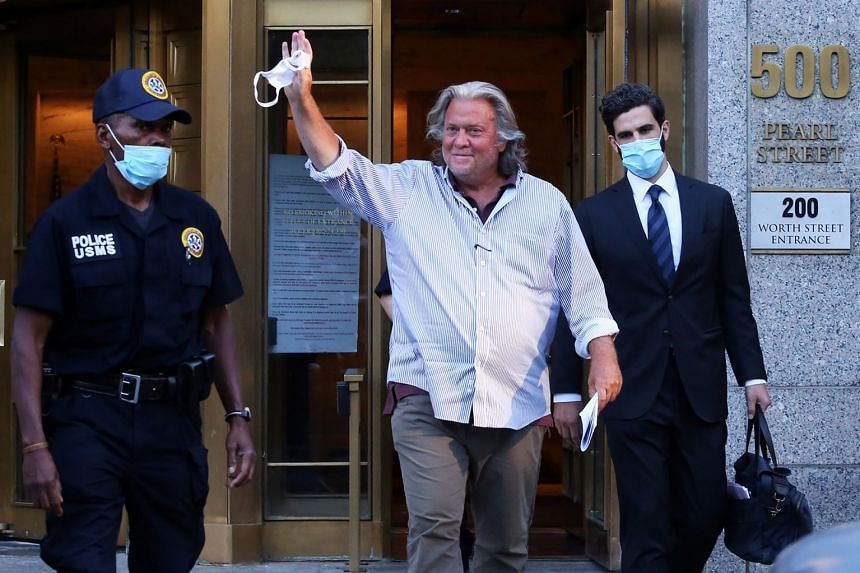 Bannon leaving a Manhattan court in August 2020, over charges of defrauding southern border wall donors.