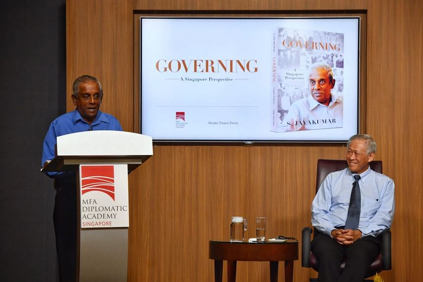 Former senior minister S. Jayakumar speaking at the launch of his new book, Governing: A Singapore Perspective, with guest-of-honour Dr Ng Eng Hen, at the Ministry of Foreign Affairs on Nov 6, 2020.