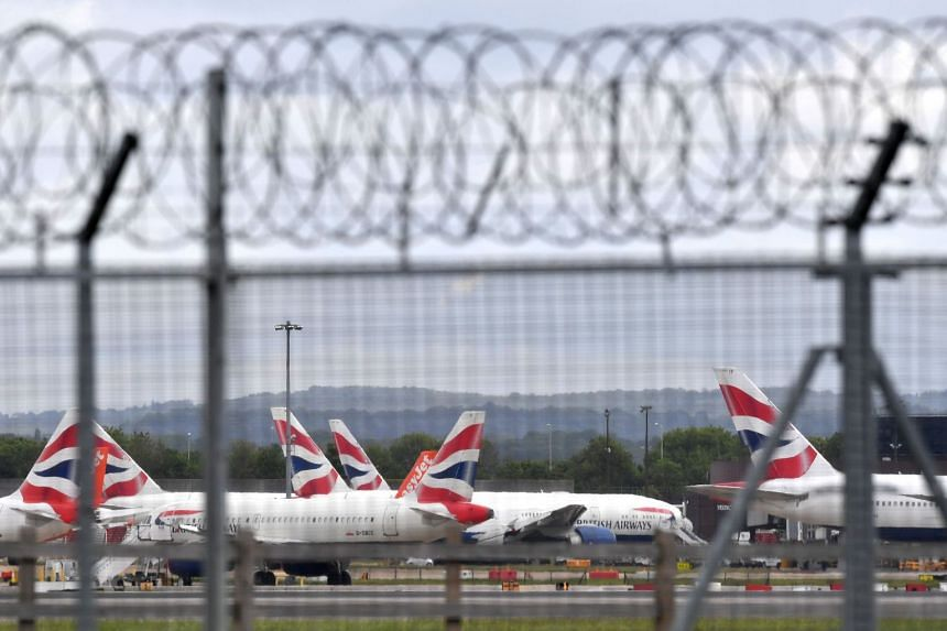 A May 2020 photo shows British Airways planes grounded at London's Gatwick Airport due to Covid-19.