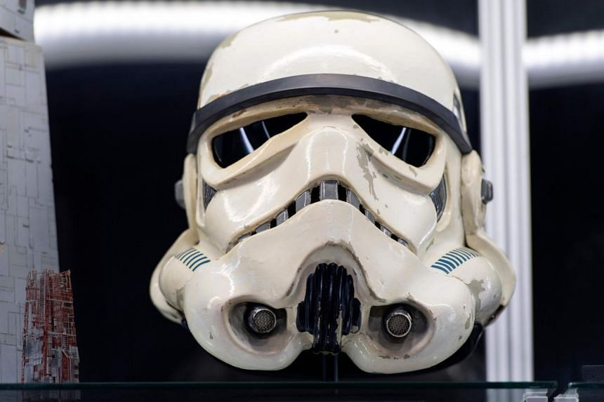 A Star Wars stormtrooper helmet at the Prop Store in Valencia, California, on Aug 26, 2020.