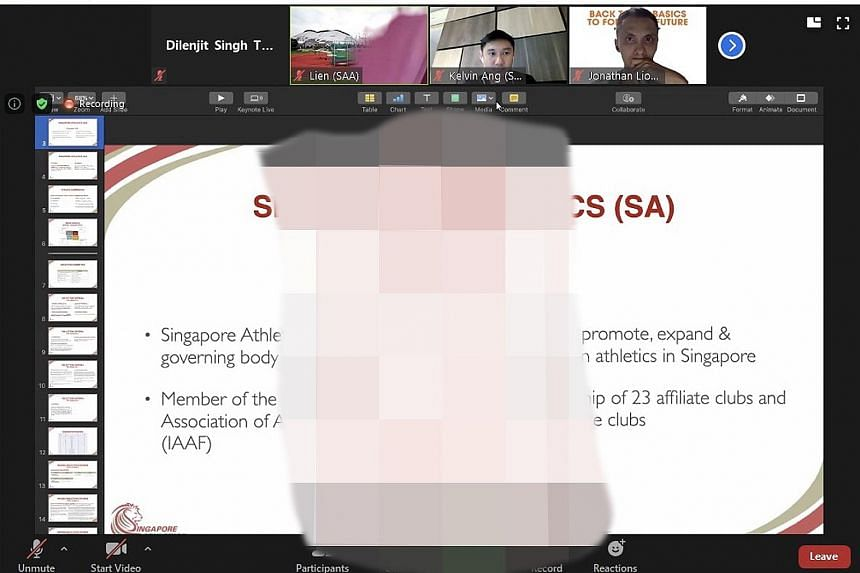 A screenshot which has an obscene image blurred out. The unedited version appeared during Singapore Athletics' virtual townhall.