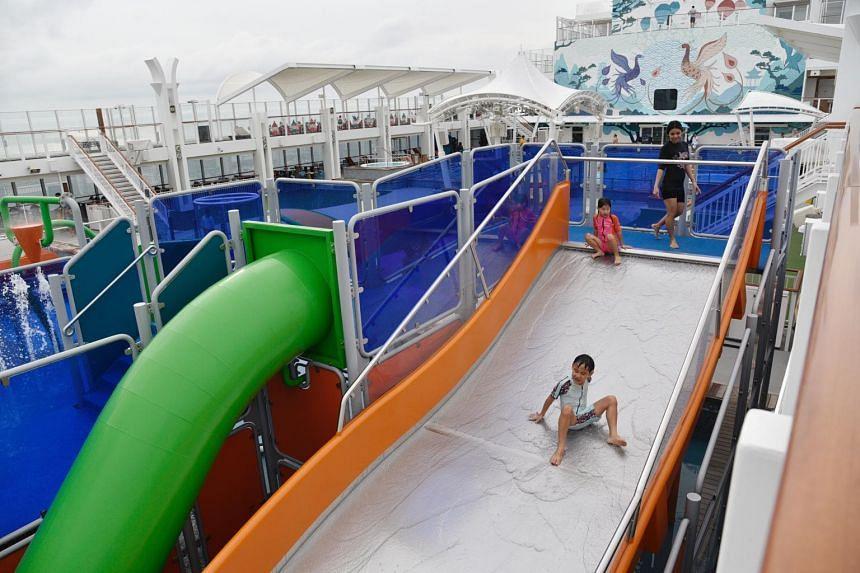 Children having fun at the water park on the World Dream mega-ship, on Nov 7, 2020.