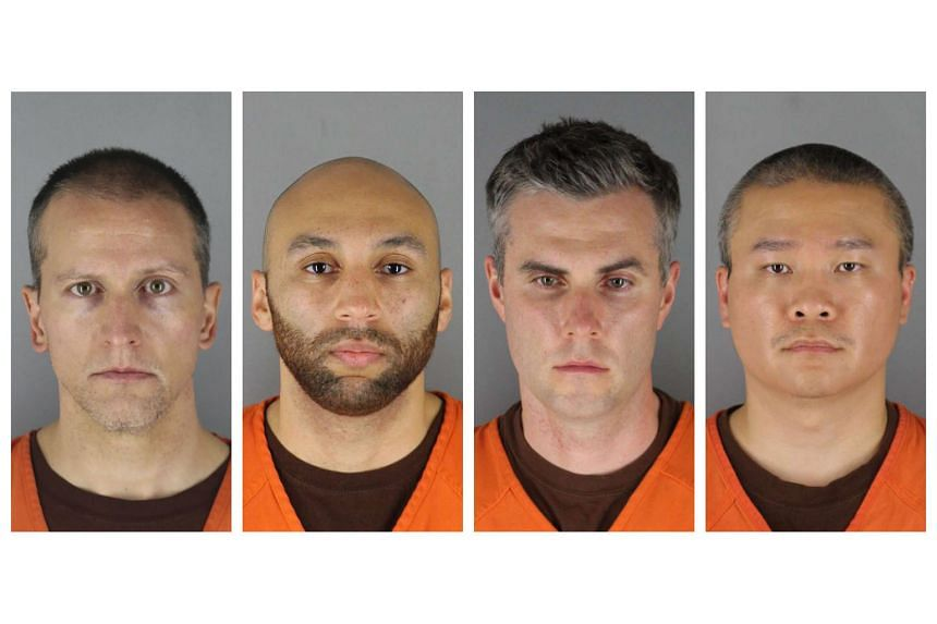 Clockwise from top left: Derek Chauvin, Alexander Kueng, Tou Thao and Thomas Lane, former police officers charged in the killing of Mr George Floyd, who died under the knee of a white Minneapolis officer.
