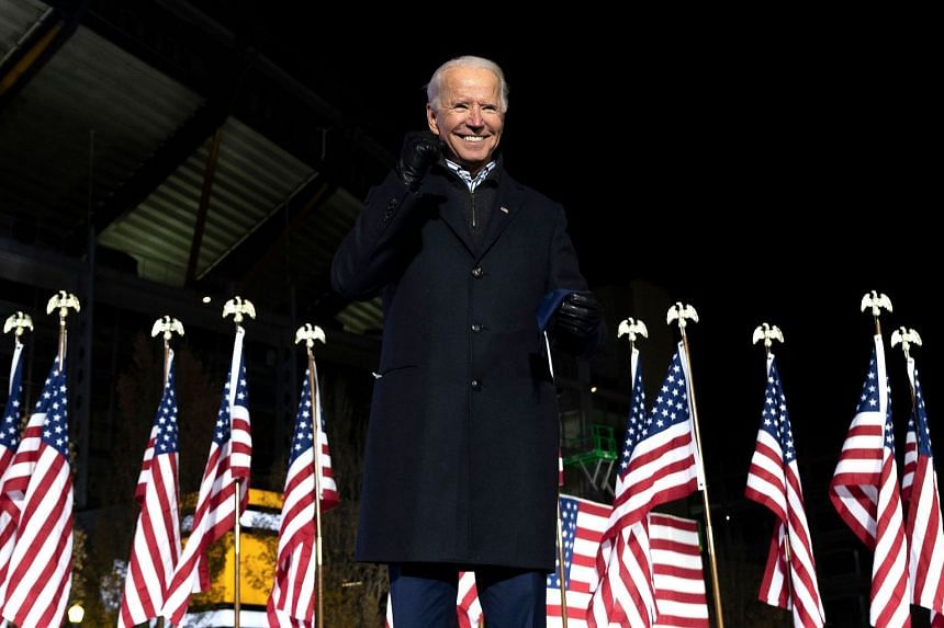 Biden gestures at a rally in Pittsburgh, Pennsylvania, on Nov 2, 2020.