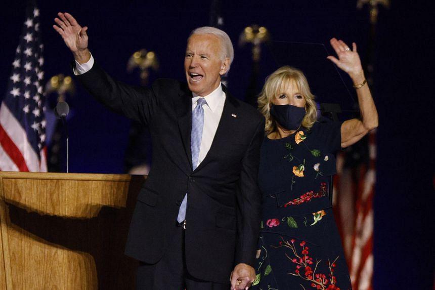 US President-elect Joe Biden with wife Jill Biden in Wilmington, Delaware, on Nov 7, 2020.