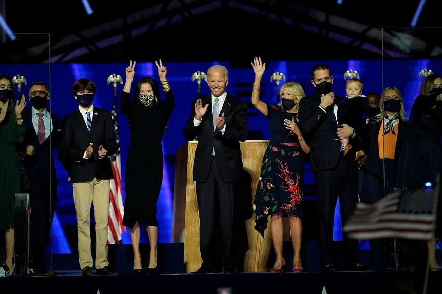 US President-elect Joe Biden with his family in Wilmington, Delaware, on Nov 7, 2020.