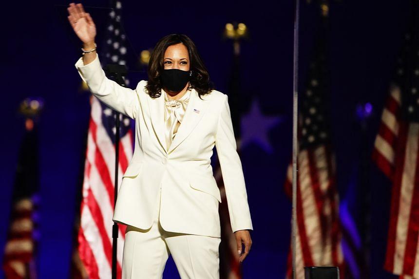 US vice-president elect Kamala Harris in Wilmington, Delaware, on Nov 7, 2020.