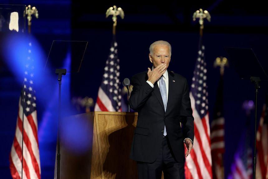 US President-elect Joe Biden in Wilmington, Delaware, on Nov 7, 2020.