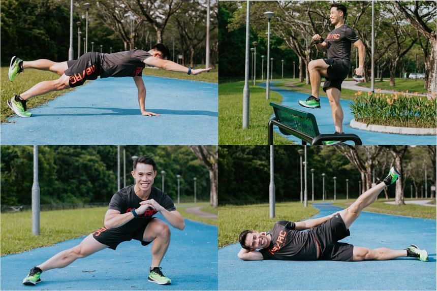 Strengthen your upper and lower body muscles with exercises like (clockwise, from top left) the high bird dog plank, step up with knee raise, side lying leg lift and side lunges.