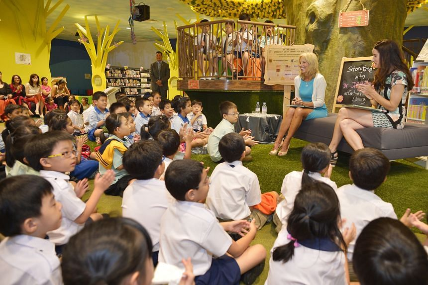 Joe Biden's wife, Dr Jill Biden, and their daughter Ashley read to pupils from primary schools in Singapore.