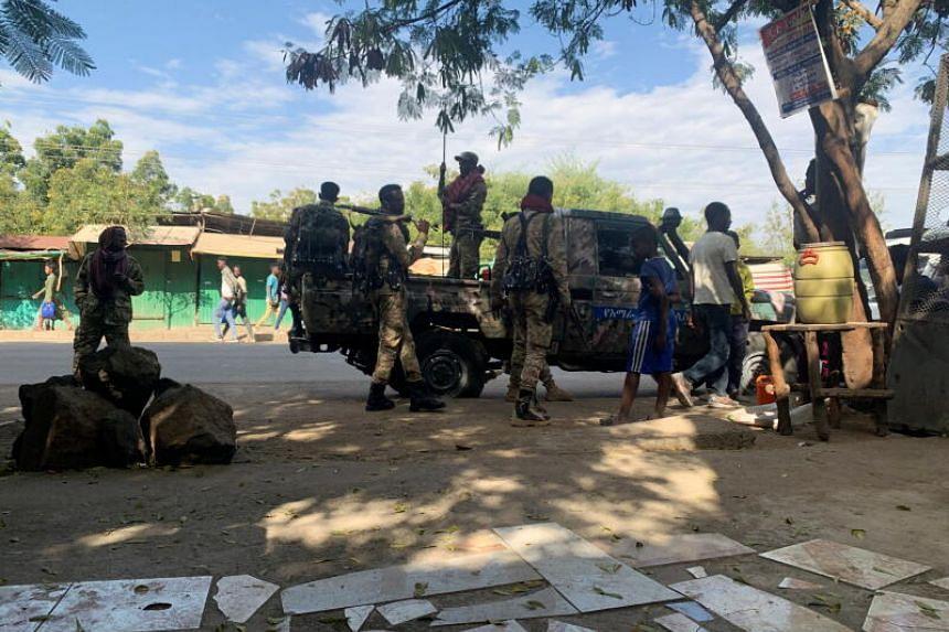 Members of  Ethiopian National Defence Force preparing to head to mission in Sanja, Amhara region, on Nov 9.