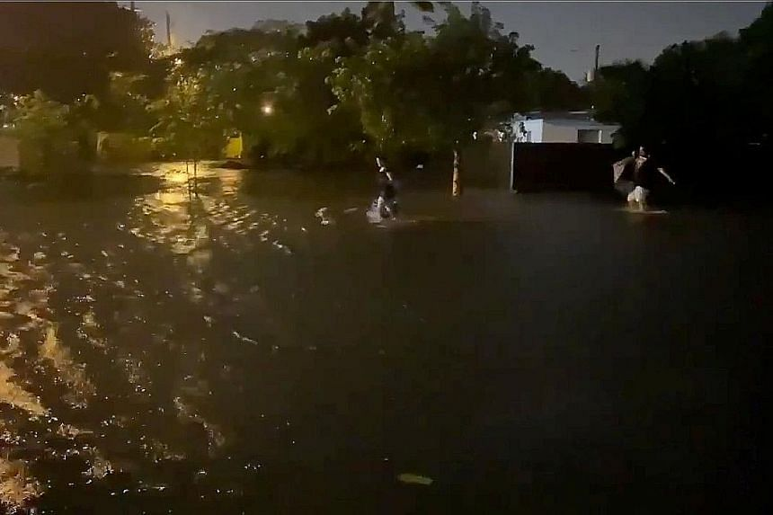 Flooding in Fort Lauderdale, Florida, caused by Tropical Storm Eta on Sunday in this screengrab from a social media video. Eta adds to a record-breaking Atlantic hurricane season that has seen hundreds of deaths and billions of dollars in damage.