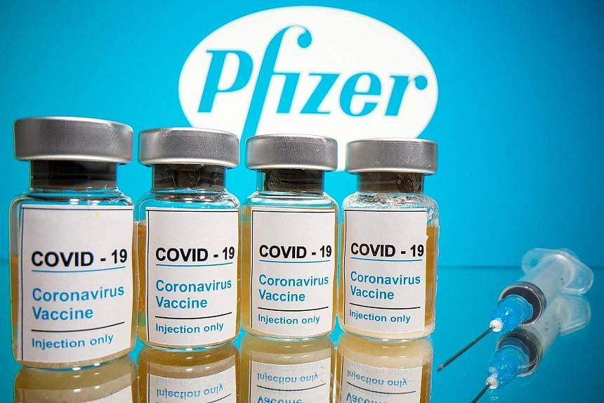 An illustration of vaccine for the coronavirus. According to preliminary findings for a vaccine jointly developed by Pfizer and BioNTech, protection in patients was achieved seven days after the second of two doses, and 28 days after the first dose.
