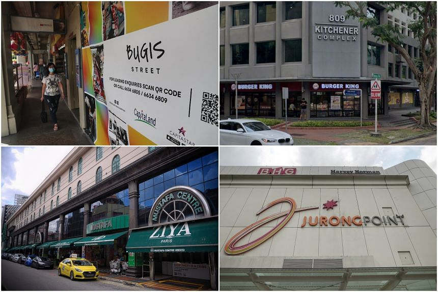 (Clockwise from top left) Bugis Street, Kitchener Complex, Jurong Point and Mustafa Centre were among the new locations visited by Covid-19 patients while they were still infectious.