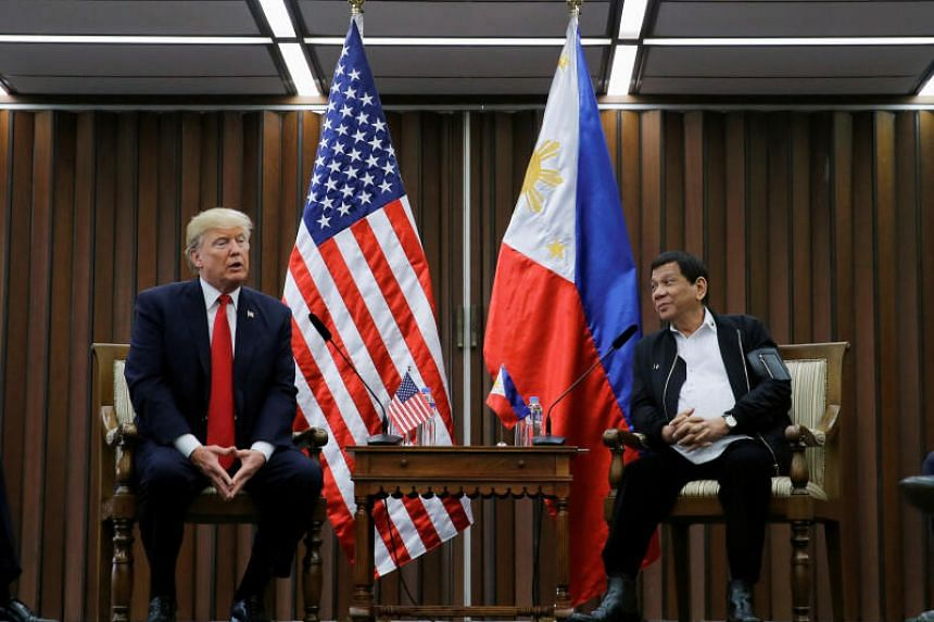 US President Donald Trump holds a bilateral meeting with President of the Philippines Rodrigo Duterte alongside the Asean Summit in Manila, Philippines Nov 13, 2017.