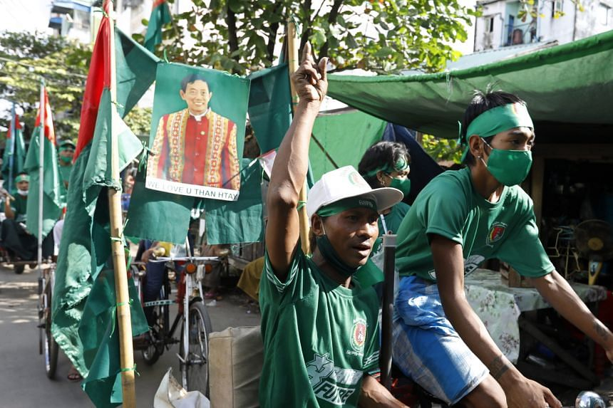 Supporters of the Union Solidarity and Development Party during an election campaign rally in Yangon, Myanmar, on Nov 5, 2020.