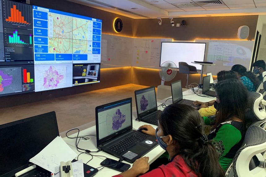 Software professionals track the spread of the coronavirus in Bengaluru on July 2, 2020.