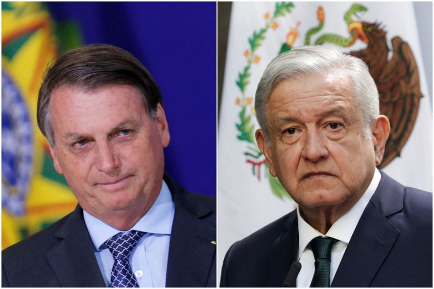 Brazil's President Jair Bolsonaro (left) and Mexican President Andres Manuel Lopez Obrador are part of a shrinking group of world leaders to not congratulate Mr Biden.