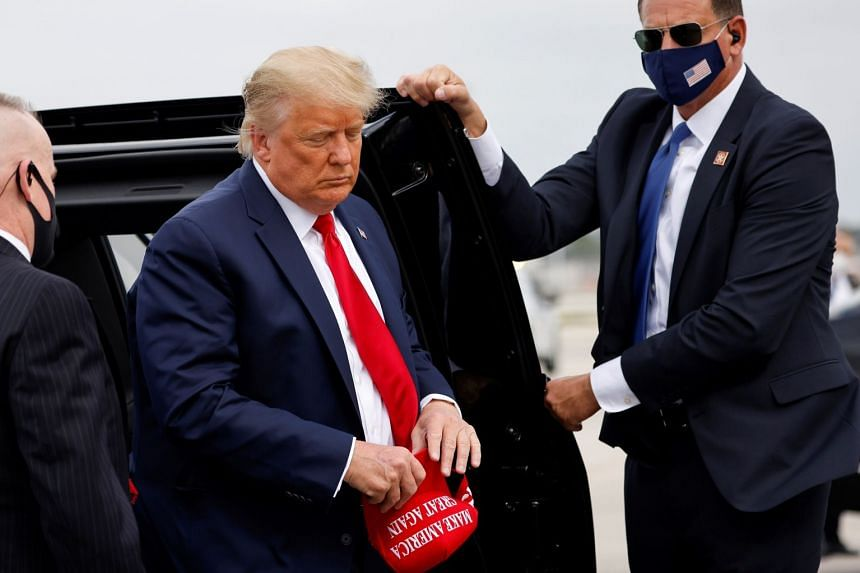 A Nov 2, 2020, photo shows Trump arriving to board Air Force One for a campaign event in North Carolina.