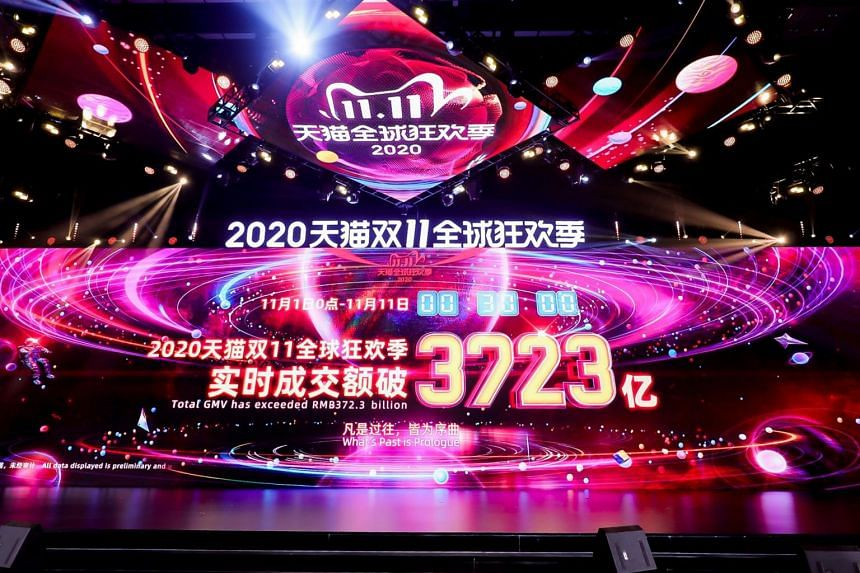 As of 12.30am local time on Nov 11, the campaign's gross merchandise volume had surpassed 372.3 billion yuan.