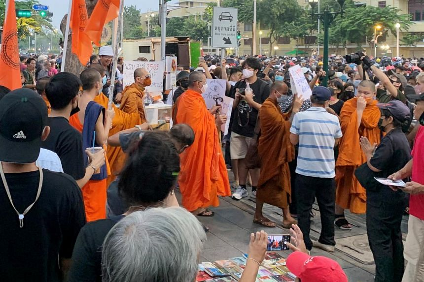 Monks are seen during a rally in Bangkok, on Nov 8, 2020.