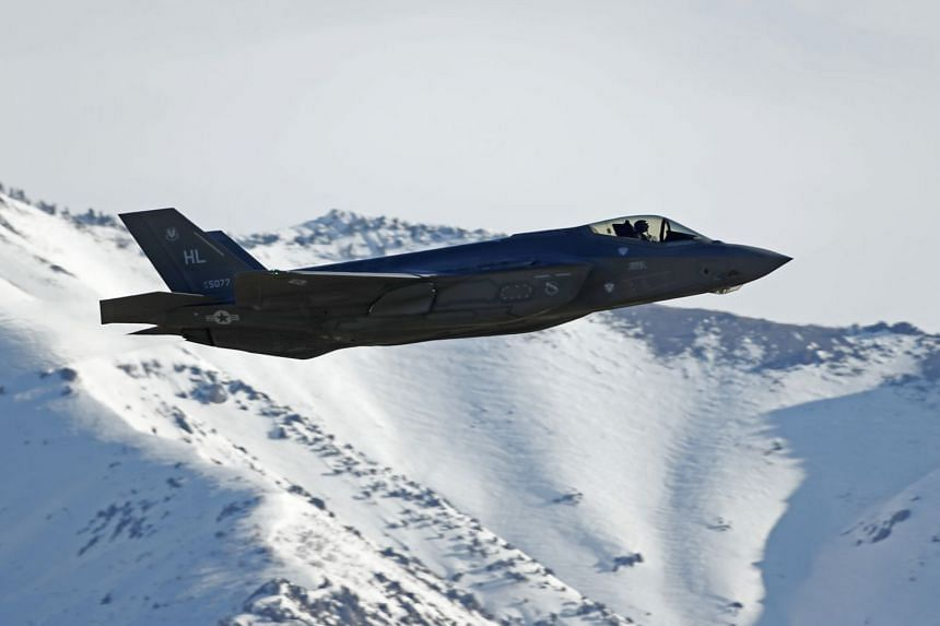 A 2017 photo shows an F-35 fighter jet taking off for a training mission in Utah.