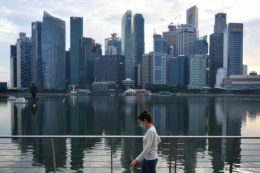 The waterfront promenade outside Marina Bay Sands on June 6, 2020.