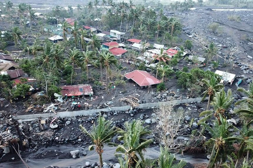 A photo from Nov 3, 2020, shows buildings that were destroyed during Typhoon Goni in Catanduanes province, Philippines.