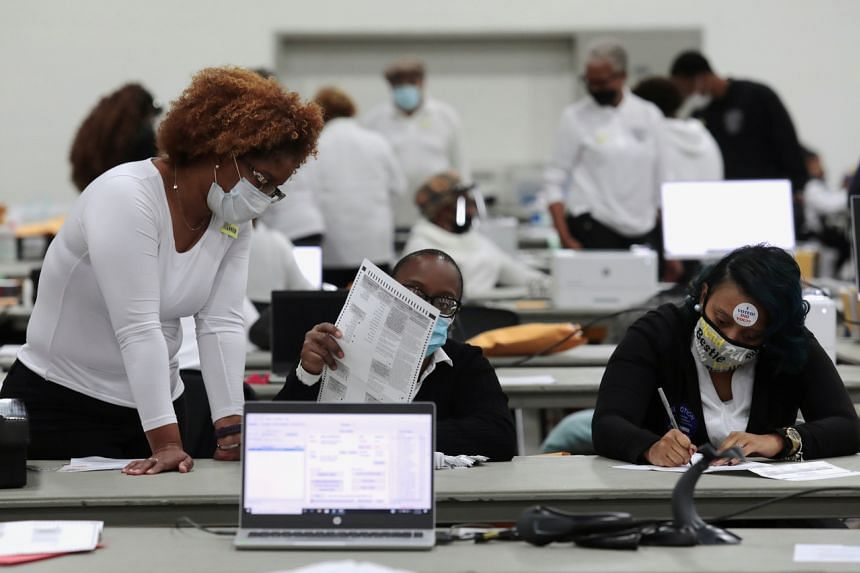 Poll workers tabulate absentee ballots in Detroit, Michigan, on Nov 3, 2020.