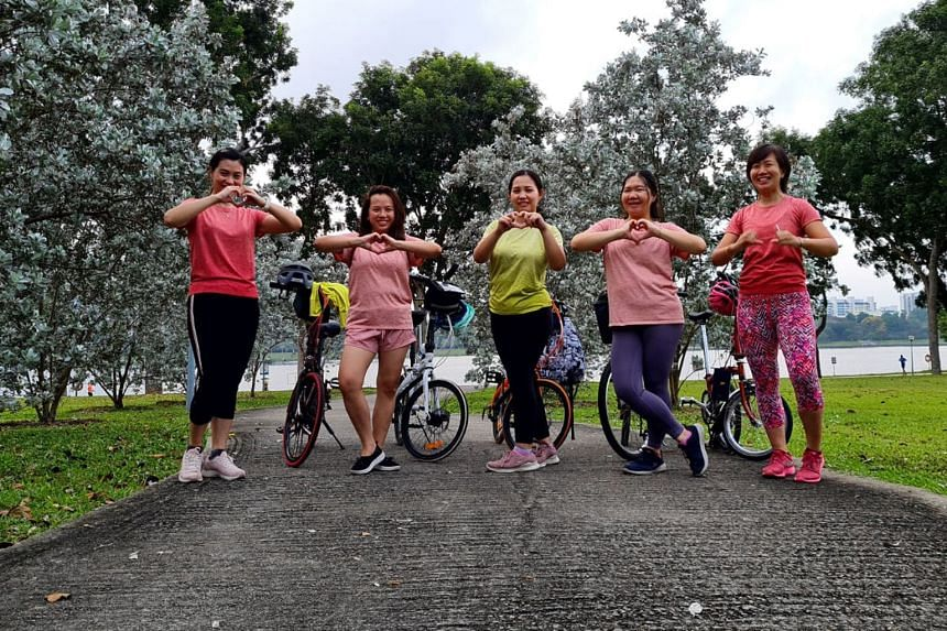 (From left) Cyclists Rika Metasari, Grace Tania Wongso, Theresia Go, Rita and Mutia Destaminata at Bedok Reservoir Park. (Left) Brunei's former minister of industry and primary resources, Pehin Dato Yahya Bakar, in Simon Road. (Left) Ms Phua Sin Hui