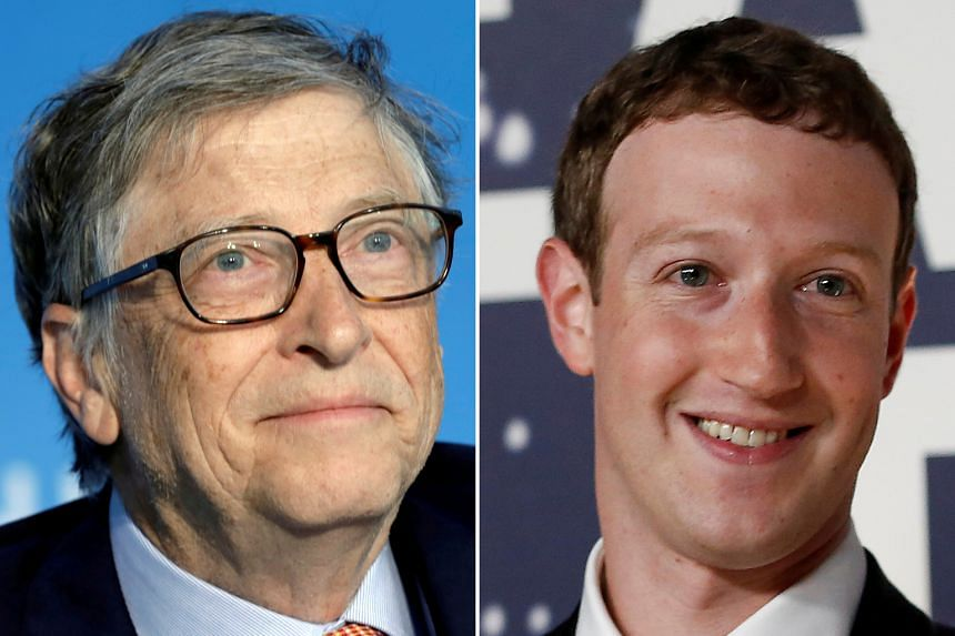 The first four centibillionaires with fortunes exceeding US$100 billion are Mr Jeff Bezos, Mr Elon Musk, Mr Bill Gates (left) and Mr Mark Zuckerberg (right).