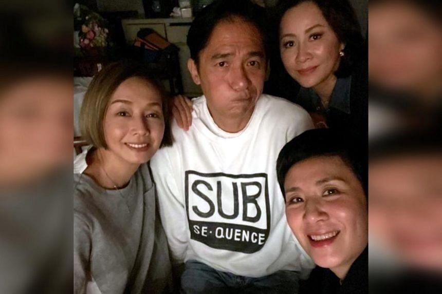 Hong Kong actress Teresa Mo (left) posts a photo with actors Tony Leung Chiu Wai, Carina Lau (top right) and Sandra Ng (bottom right).